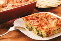 烤宽面条用菠菜、乳清干酪和希脂乳 库存照片