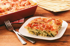 烤宽面条用菠菜、乳清干酪和希脂乳 免版税库存照片