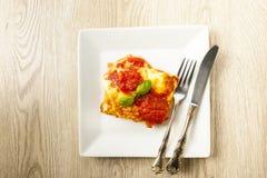 烤宽面条的开胃部分在一块白色板材的用西红柿酱 免版税库存图片