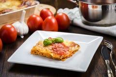 烤宽面条的开胃部分在一块白色板材的用西红柿酱 免版税库存照片