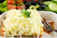 烤宽面条部分服务与新鲜蔬菜 免版税库存图片