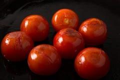 烤小条腰部牛排系列:烤蕃茄 免版税库存照片
