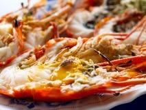 烤巨型河虾或巨型淡水大虾 免版税库存图片