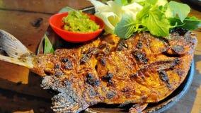烤巴瓦尔鱼用与绿色辣酱的酱油 免版税库存图片