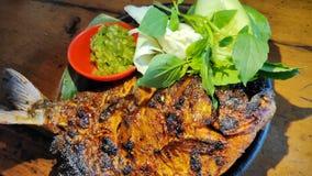 烤巴瓦尔鱼用与绿色辣酱的酱油 免版税图库摄影