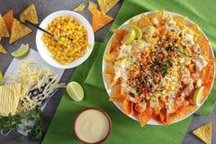 烤干酪辣味玉米片冠上了一种熔化乳脂状的乳酪调味料 免版税图库摄影