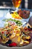 烤干酪辣味玉米片牌照和开胃菜 库存图片