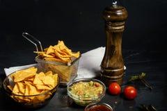 烤干酪辣味玉米片玉米片用熔化乳酪服务与鳄梨调味酱捣碎的鳄梨酱 免版税库存图片