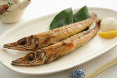 烤干鱼,日本食物 免版税库存图片