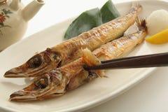 烤干鱼,日本食物 库存图片