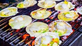 烤扇贝冠上了用黄油、大蒜和荷兰芹。 免版税库存照片