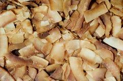 烤椰子削片 免版税库存图片
