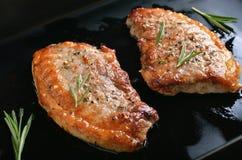 烤水多的猪肉牛排 免版税图库摄影