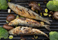 烤沙丁鱼 库存照片