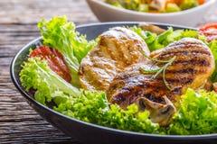 烤烤的鸡胸脯并且烤鸡胸脯用莴苣沙拉蕃茄和蘑菇 免版税图库摄影