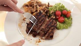 烤牛排和菜 另外水多的牛肉条与菜装饰品 从厨师的盘 股票视频