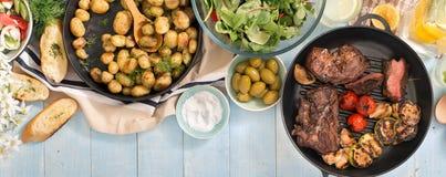 烤牛排,菜,土豆,沙拉,快餐,自创lem 库存照片