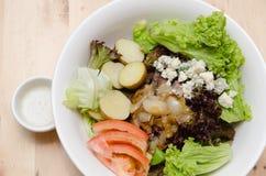烤牛肉沙拉用蕃茄,土豆,葱 免版税图库摄影