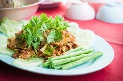 烤牛肉泰国食物在盘的 免版税图库摄影