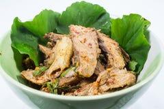 烤牛肉,泰国样式烹调辣沙拉  免版税库存图片