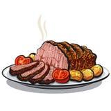 烤牛肉 皇族释放例证