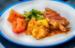 烤猪肉炸肉排用菠萝和薄菏沙拉, 库存照片