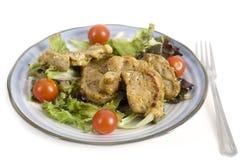 烤猪肉用新鲜的沙拉 免版税库存照片