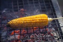 烤玉米棒子在市场,街道食物上在巴厘岛,印度尼西亚 免版税库存照片