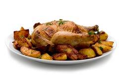 烤的康沃尔母鸡 库存照片