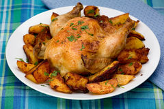 烤的康沃尔母鸡 免版税库存图片