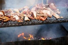烤的猪肉开火 免版税库存图片