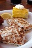 烤的琥珀鱼玉米 免版税图库摄影