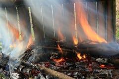 烤的竹糯联接米 免版税库存照片