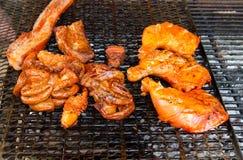 烤的鸡和猪肉 库存照片