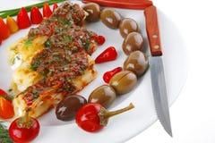 烤碎肉卷子干酪服务 免版税图库摄影
