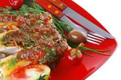 烤碎肉卷子服务用胡椒 库存图片