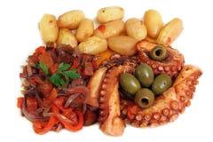 烤章鱼一个可口盘  免版税图库摄影