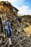 烤箱和火炉热源的木柴 免版税图库摄影