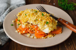 烤箱烤鱼片用在面包外壳下的红萝卜 免版税库存图片