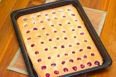 从烤箱的蛋糕 库存图片