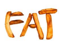 烤箱被隔绝的被烘烤的土豆片拼写FAT 免版税库存图片