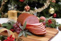 烤给上釉的圣诞节火腿 免版税图库摄影