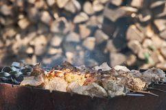烤肉串串在木头背景油煎了  免版税库存图片