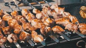 烤肉串和蘑菇在格栅被烹调本质上 股票视频