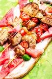 烤肉串用西瓜装饰 免版税库存照片