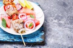 烤肉串用西瓜装饰 免版税库存图片