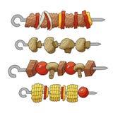 烤肉串的元素 向量例证