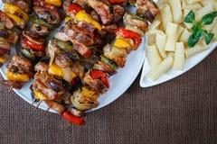 烤肉串-烤猪肉kebab 免版税库存照片