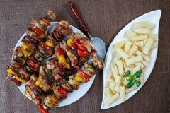 烤肉串-烤猪肉kebab 库存照片