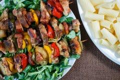 烤肉串-烤猪肉kebab 免版税图库摄影